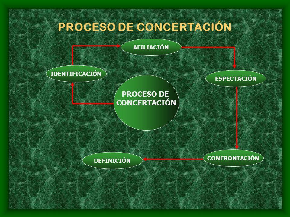 PROCESO DE CONCERTACIÓN PROCESO DE CONCERTACIÓN IDENTIFICACIÓN AFILIACIÓN ESPECTACIÓN CONFRONTACIÓN DEFINICIÓN