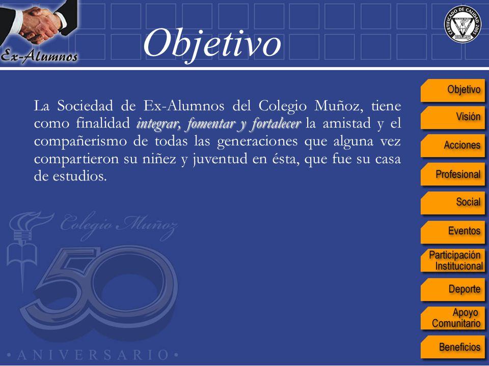 La Sociedad de Ex-Alumnos del Colegio Muñoz, tiene como finalidad i ii integrar, fomentar y fortalecer la amistad y el compañerismo de todas las gener