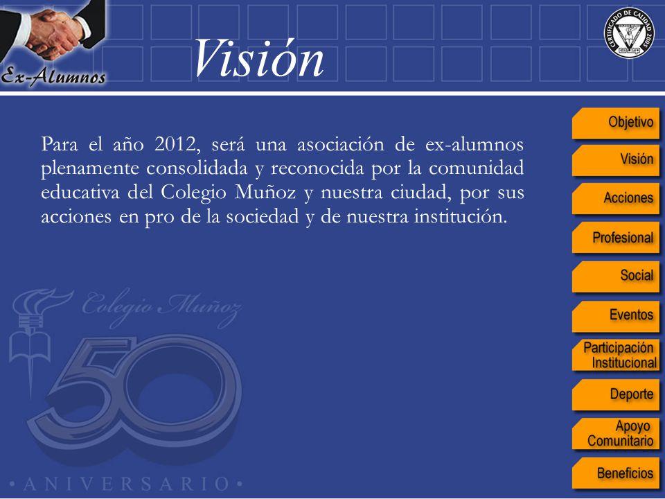 Para el año 2012, será una asociación de ex-alumnos plenamente consolidada y reconocida por la comunidad educativa del Colegio Muñoz y nuestra ciudad,