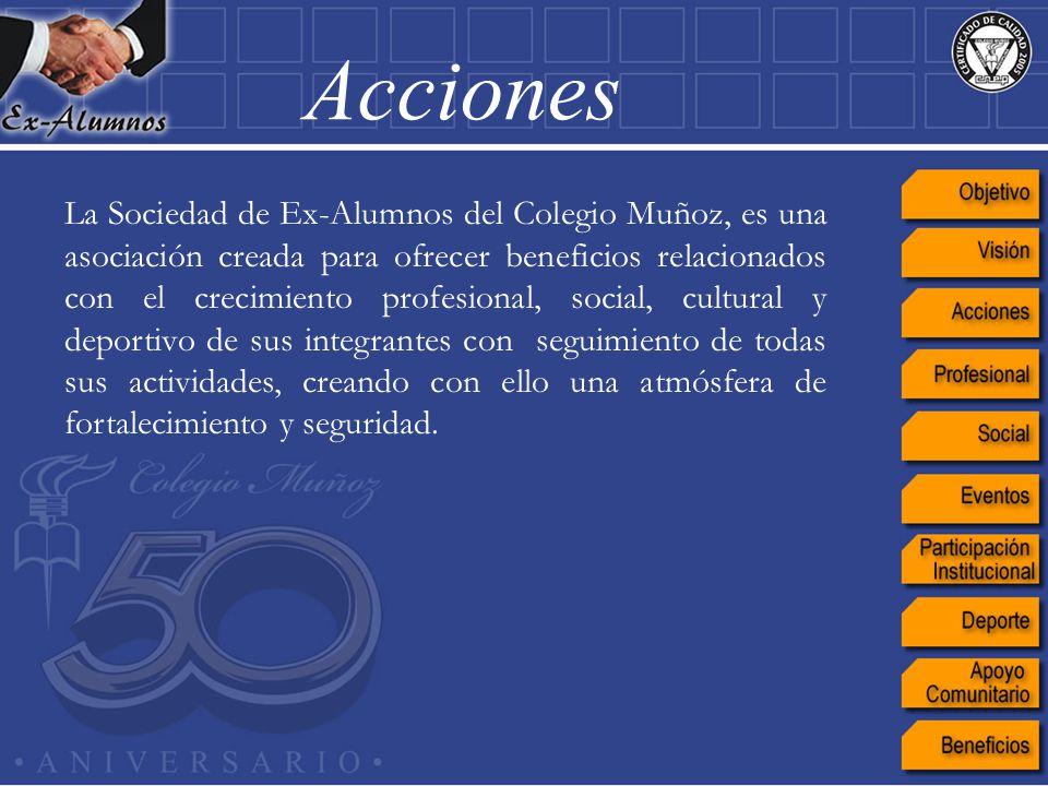 La Sociedad de Ex-Alumnos del Colegio Muñoz, es una asociación creada para ofrecer beneficios relacionados con el crecimiento profesional, social, cul