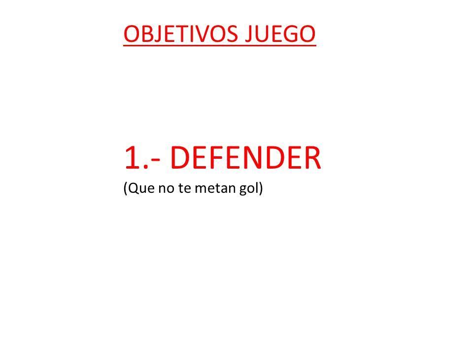OBJETIVOS JUEGO 1.- DEFENDER (Que no te metan gol) 2.- ATACAR (Meter gol) 3.- GANAR