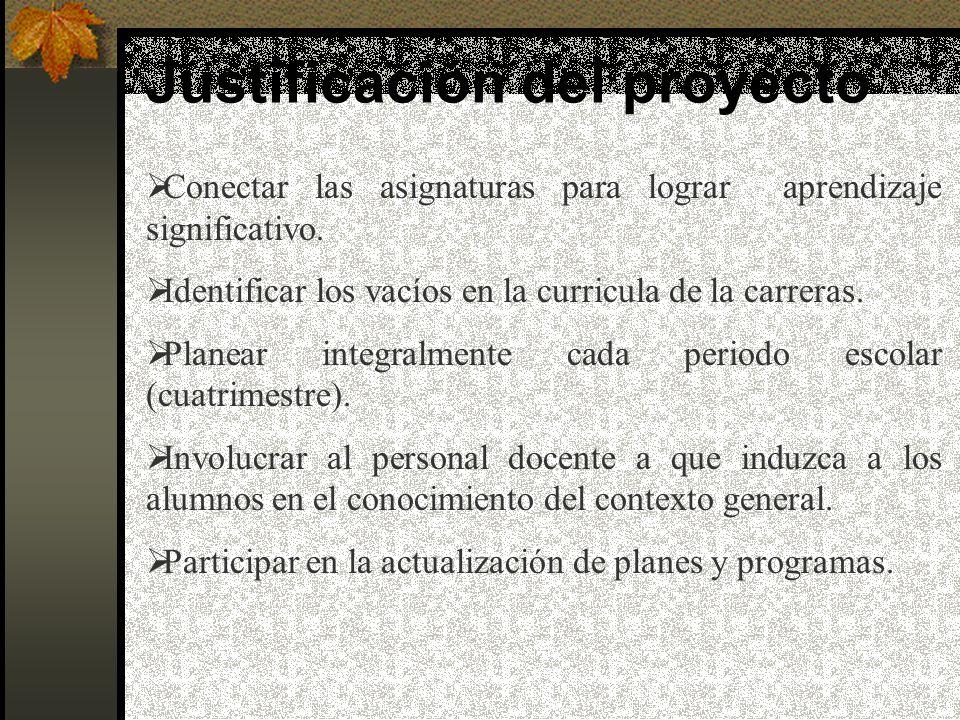 Justificación del proyecto Conectar las asignaturas para lograr aprendizaje significativo.