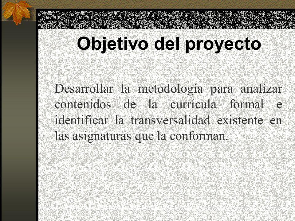 Objetivo del proyecto Desarrollar la metodología para analizar contenidos de la currícula formal e identificar la transversalidad existente en las asignaturas que la conforman.