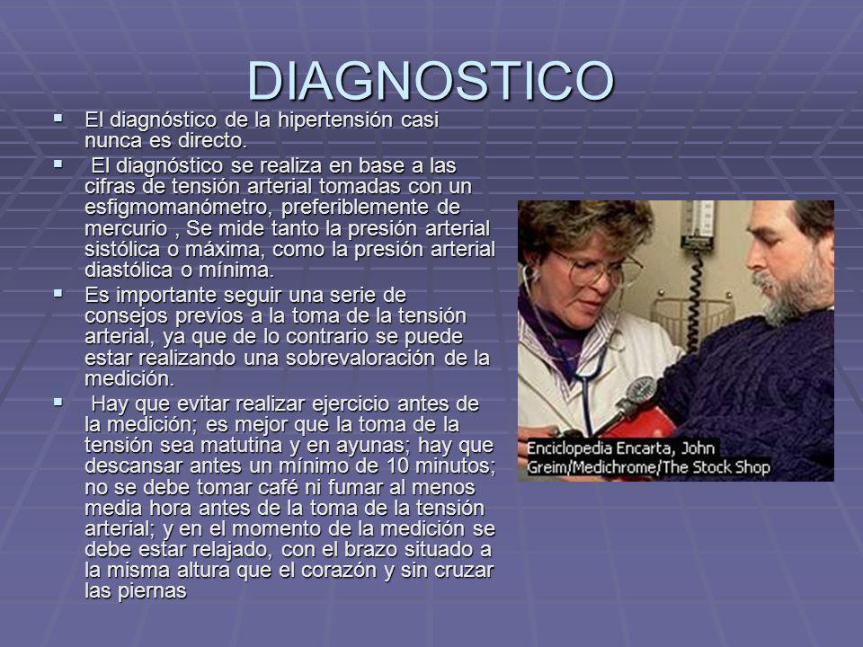 DIAGNOSTICO El diagnóstico de la hipertensión casi nunca es directo. El diagnóstico de la hipertensión casi nunca es directo. El diagnóstico se realiz