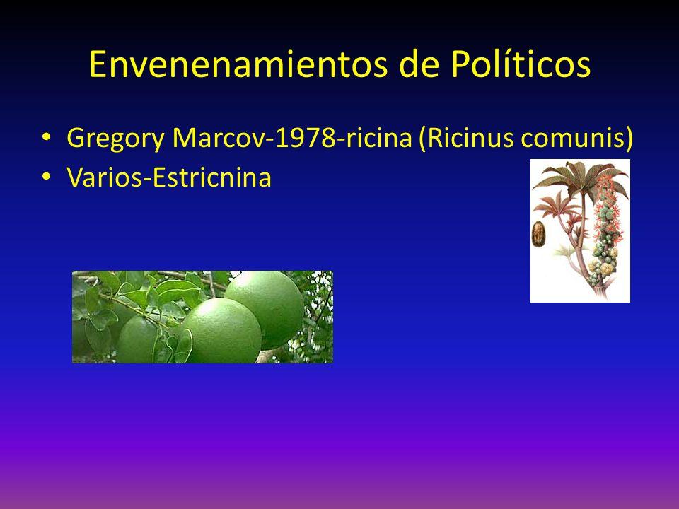 Envenenamientos de Políticos Gregory Marcov-1978-ricina (Ricinus comunis) Varios-Estricnina