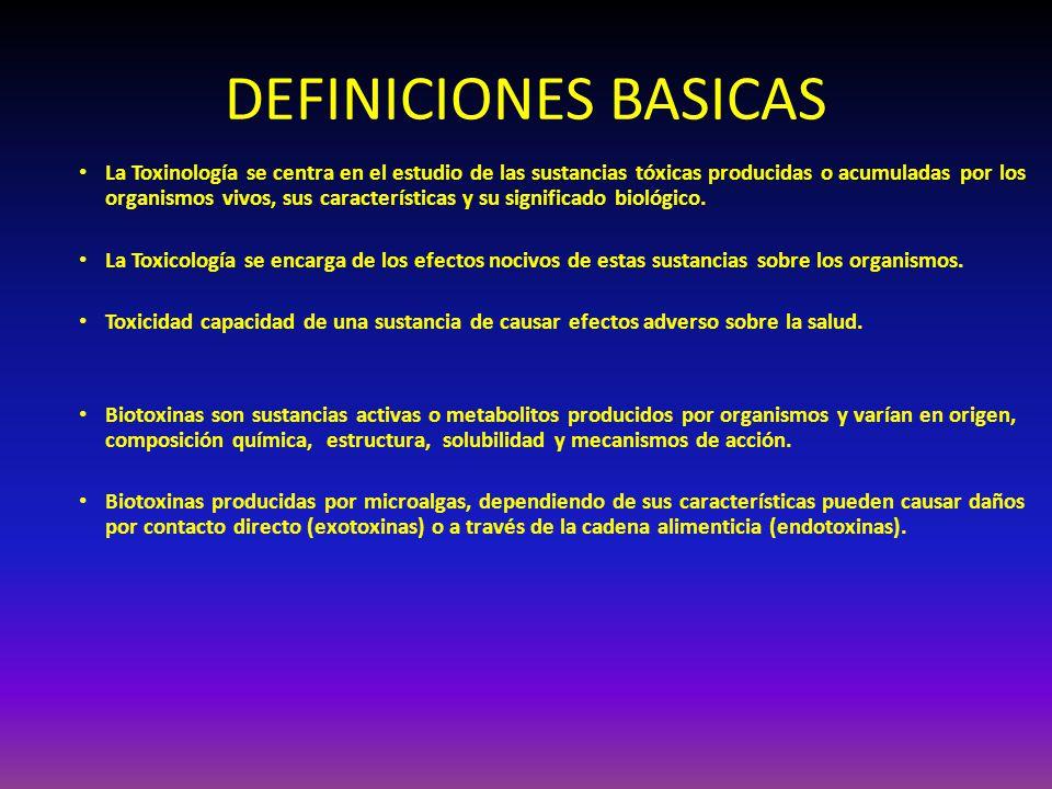 DEFINICIONES BASICAS La Toxinología se centra en el estudio de las sustancias tóxicas producidas o acumuladas por los organismos vivos, sus caracterís