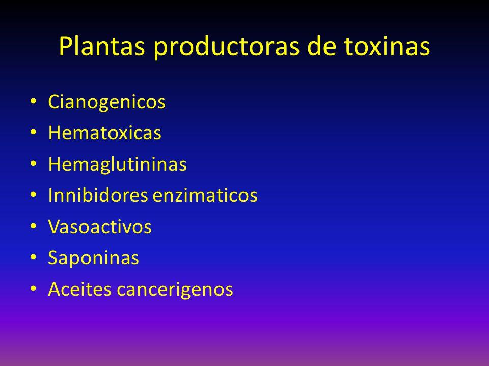 Plantas productoras de toxinas Cianogenicos Hematoxicas Hemaglutininas Innibidores enzimaticos Vasoactivos Saponinas Aceites cancerigenos