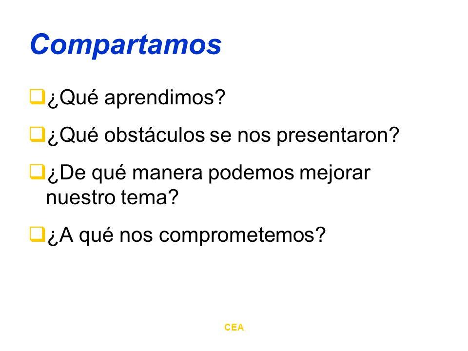 CEA Compartamos ¿Qué aprendimos? ¿Qué obstáculos se nos presentaron? ¿De qué manera podemos mejorar nuestro tema? ¿A qué nos comprometemos?