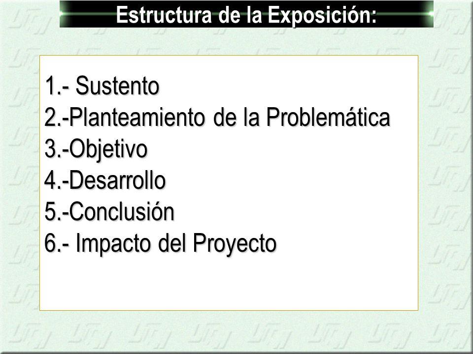 Estructura de la Exposición: 1.- Sustento 2.-Planteamiento de la Problemática 3.-Objetivo4.-Desarrollo5.-Conclusión 6.- Impacto del Proyecto