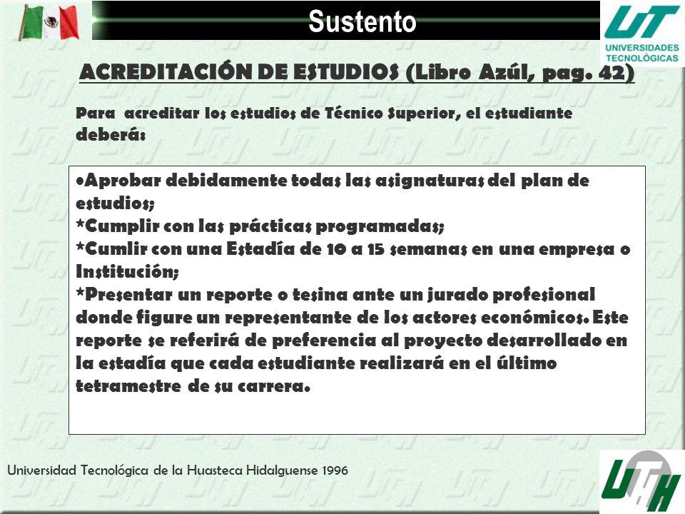 Sustento ACREDITACIÓN DE ESTUDIOS (Libro Azúl, pag. 42) Para acreditar los estudios de Técnico Superior, el estudiante deberá: Aprobar debidamente tod