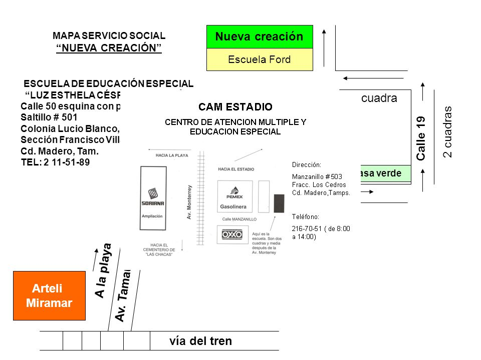 vía del tren Arteli Miramar Av. Tamaulipas Calle Jiménez A la playa Calle 19 2 cuadras 1 cuadra Escuela Ford Nueva creación Unidad deportiva MAPA SERV