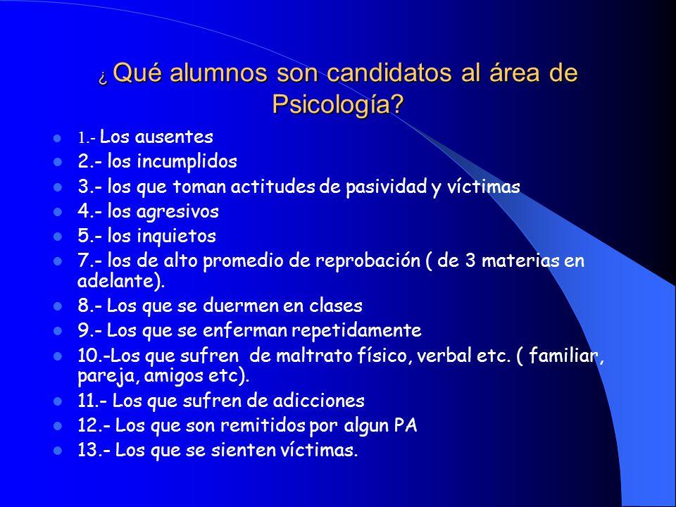 ¿ Qué alumnos son candidatos al área de Psicología.