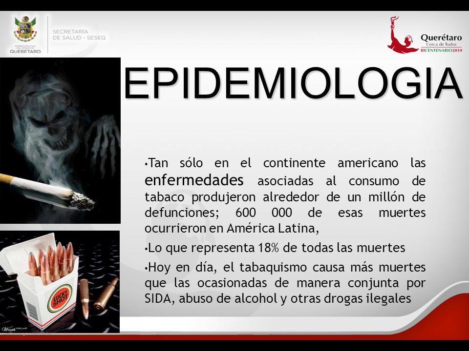 Notas y Fuentes EPIDEMIOLOGIA Tan sólo en el continente americano las enfermedades asociadas al consumo de tabaco produjeron alrededor de un millón de