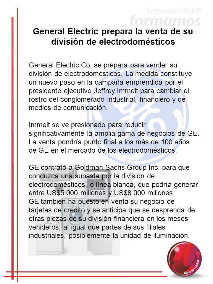 General Electric Co. se prepara para vender su división de electrodomésticos. La medida constituye un nuevo paso en la campaña emprendida por el presi