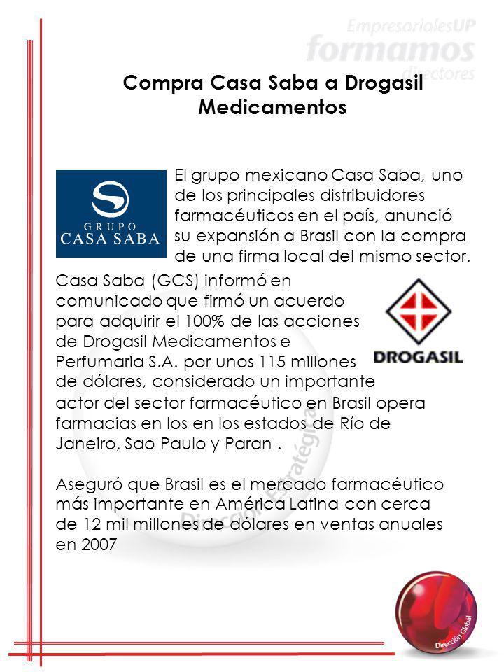 El grupo mexicano Casa Saba, uno de los principales distribuidores farmacéuticos en el país, anunció su expansión a Brasil con la compra de una firma