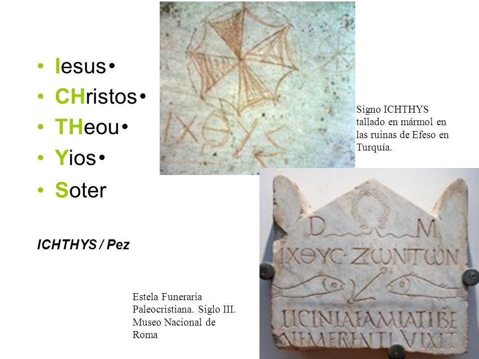 Iesus CHristos THeou Yios Soter ICHTHYS / Pez Signo ICHTHYS tallado en mármol en las ruinas de Efeso en Turquía. Estela Funeraria Paleocristiana. Sigl