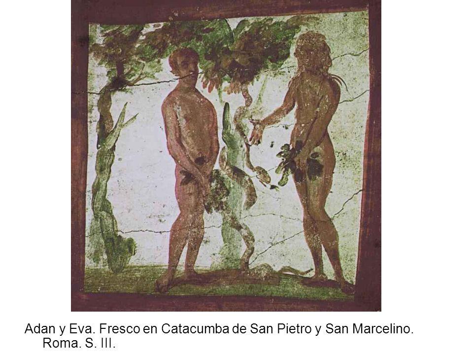 Adan y Eva. Fresco en Catacumba de San Pietro y San Marcelino. Roma. S. III.