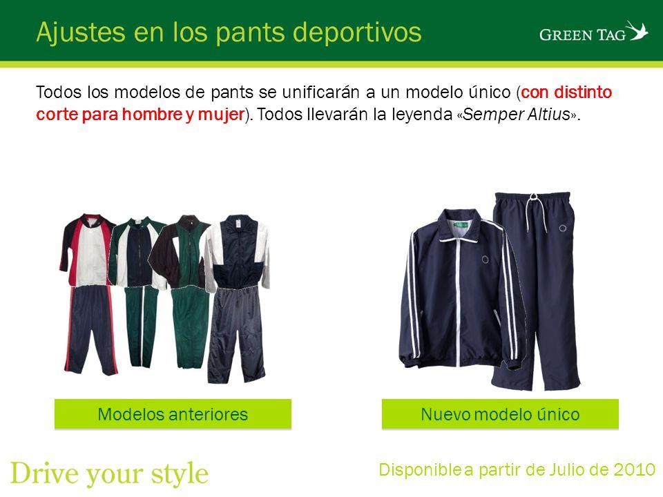 Ajustes en los pants deportivos Todos los modelos de pants se unificarán a un modelo único (con distinto corte para hombre y mujer). Todos llevarán la