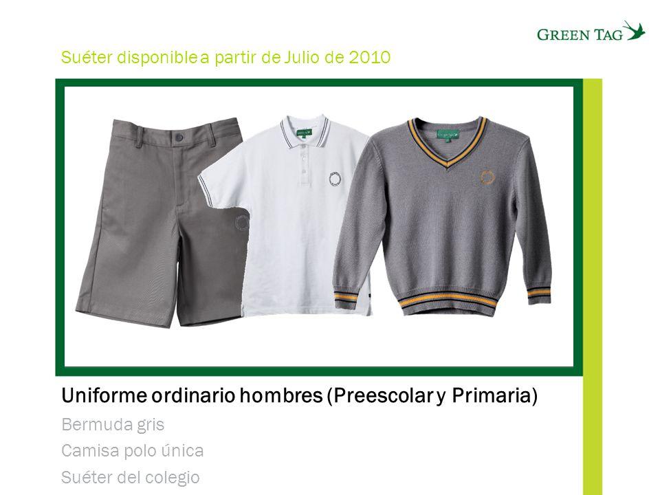 Uniforme ordinario hombres (Preescolar y Primaria) Bermuda gris Camisa polo única Suéter del colegio Suéter disponible a partir de Julio de 2010