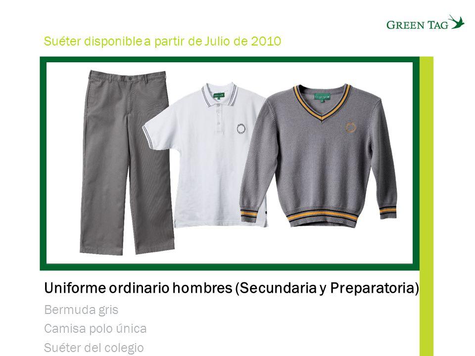 Uniforme ordinario hombres (Secundaria y Preparatoria) Bermuda gris Camisa polo única Suéter del colegio Suéter disponible a partir de Julio de 2010