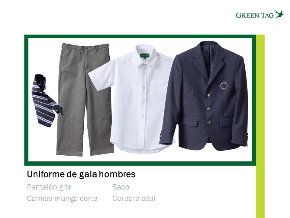 Uniforme de gala hombres Pantalón gris Camisa manga corta Saco Corbata azul