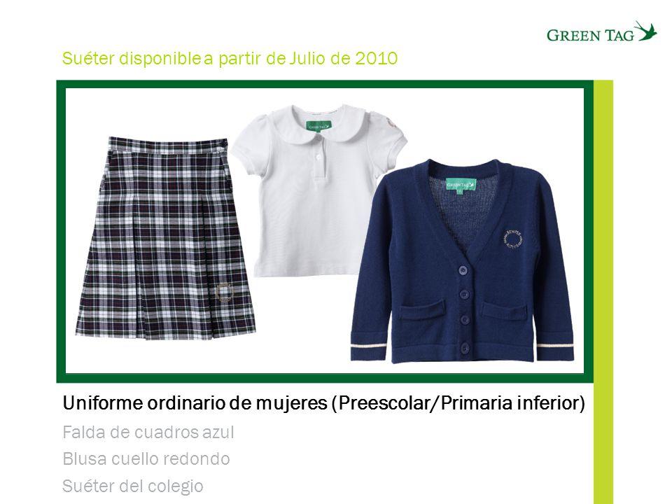 Uniforme ordinario de mujeres (Preescolar/Primaria inferior) Falda de cuadros azul Blusa cuello redondo Suéter del colegio Suéter disponible a partir de Julio de 2010
