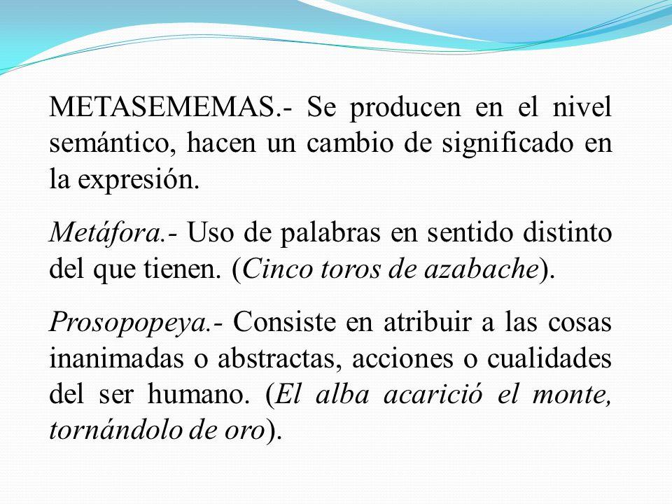 METASEMEMAS.- Se producen en el nivel semántico, hacen un cambio de significado en la expresión. Metáfora.- Uso de palabras en sentido distinto del qu