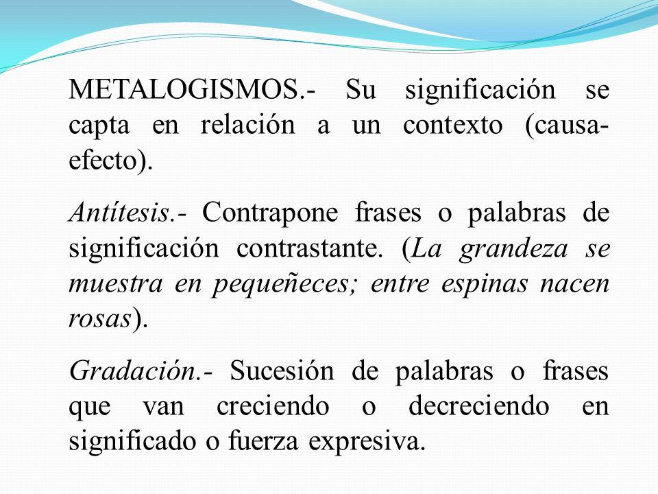 METALOGISMOS.- Su significación se capta en relación a un contexto (causa- efecto). Antítesis.- Contrapone frases o palabras de significación contrast