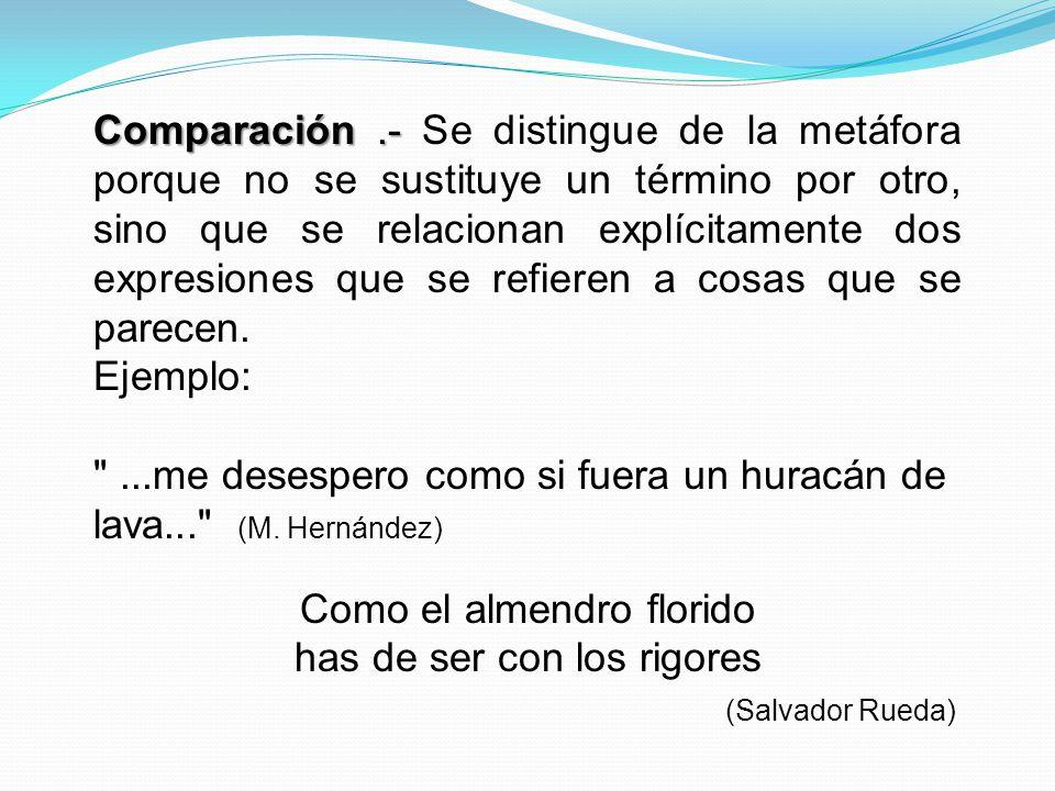 Comparación.- Comparación.- Se distingue de la metáfora porque no se sustituye un término por otro, sino que se relacionan explícitamente dos expresio