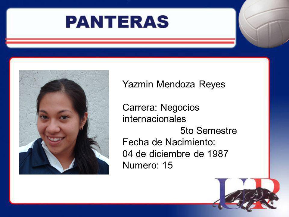 Yazmin Mendoza Reyes Carrera: Negocios internacionales 5to Semestre Fecha de Nacimiento: 04 de diciembre de 1987 Numero: 15