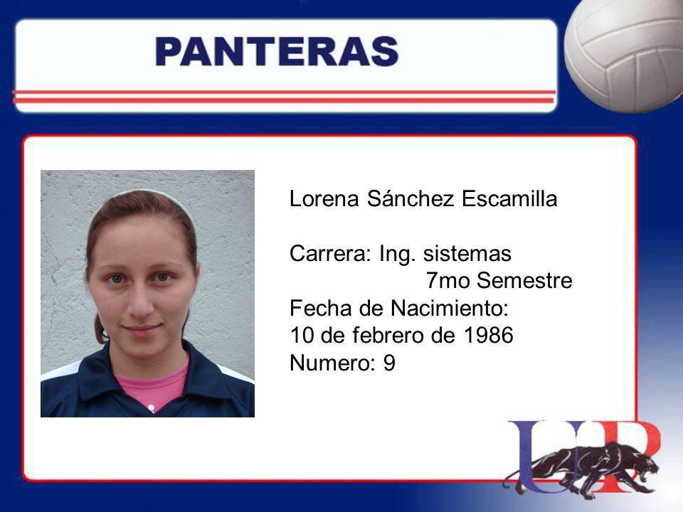Lorena Sánchez Escamilla Carrera: Ing. sistemas 7mo Semestre Fecha de Nacimiento: 10 de febrero de 1986 Numero: 9