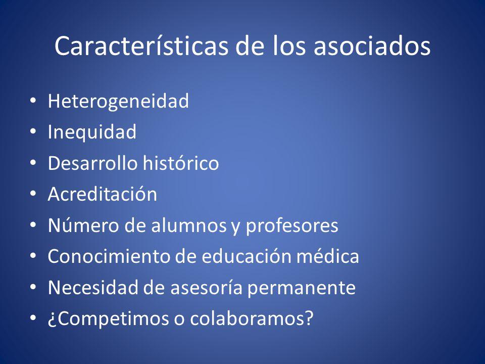 Características de los asociados Heterogeneidad Inequidad Desarrollo histórico Acreditación Número de alumnos y profesores Conocimiento de educación m