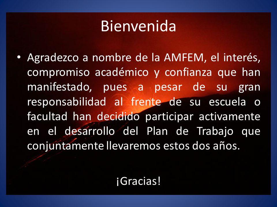Bienvenida Agradezco a nombre de la AMFEM, el interés, compromiso académico y confianza que han manifestado, pues a pesar de su gran responsabilidad a