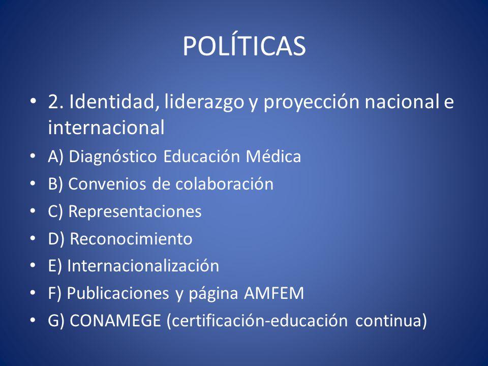 POLÍTICAS 2. Identidad, liderazgo y proyección nacional e internacional A) Diagnóstico Educación Médica B) Convenios de colaboración C) Representacion