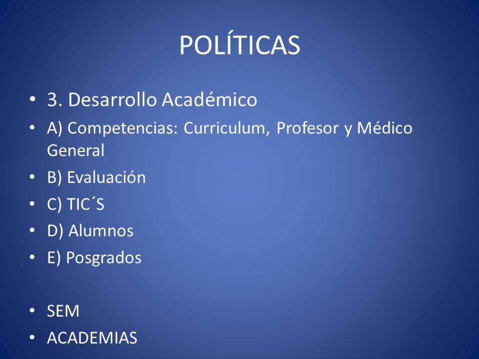 POLÍTICAS 3. Desarrollo Académico A) Competencias: Curriculum, Profesor y Médico General B) Evaluación C) TIC´S D) Alumnos E) Posgrados SEM ACADEMIAS