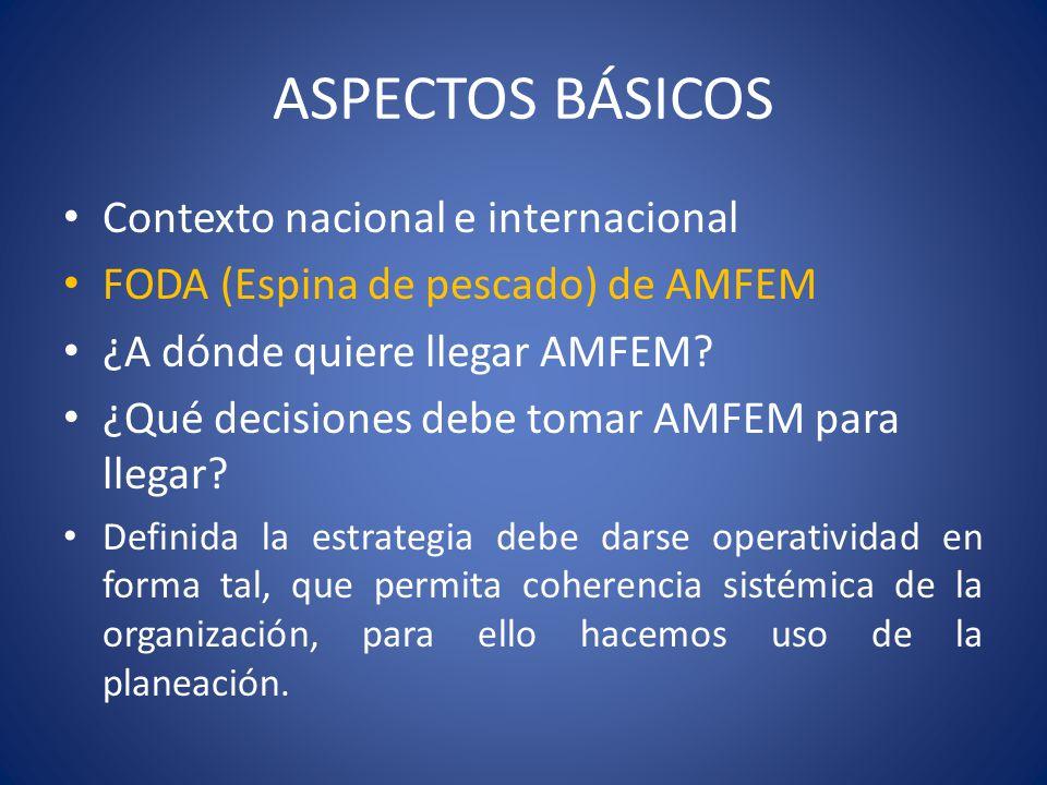 ASPECTOS BÁSICOS Contexto nacional e internacional FODA (Espina de pescado) de AMFEM ¿A dónde quiere llegar AMFEM? ¿Qué decisiones debe tomar AMFEM pa