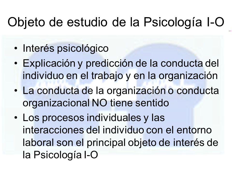 Objeto de estudio de la Psicología I-O Interés psicológico Explicación y predicción de la conducta del individuo en el trabajo y en la organización La