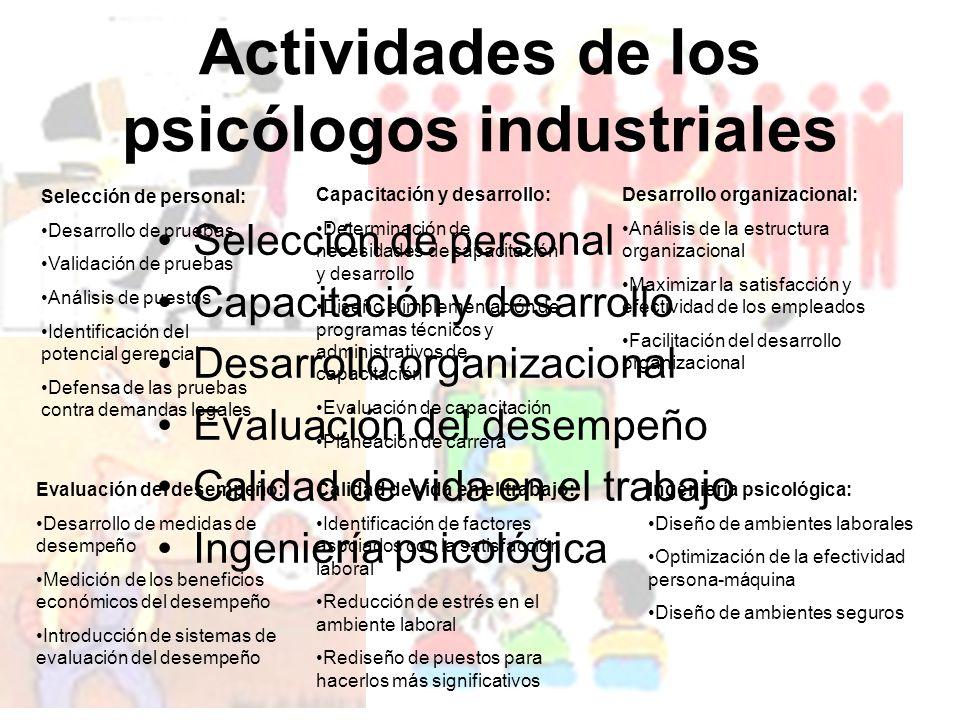 Actividades de los psicólogos industriales Selección de personal Capacitación y desarrollo Desarrollo organizacional Evaluación del desempeño Calidad