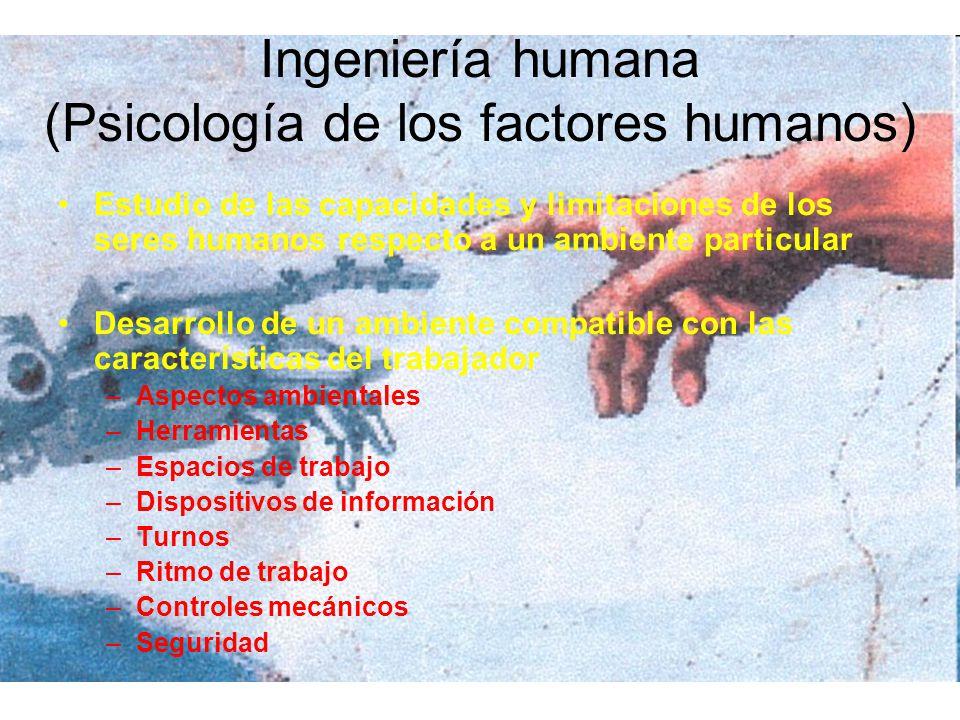 Ingeniería humana (Psicología de los factores humanos) Estudio de las capacidades y limitaciones de los seres humanos respecto a un ambiente particula