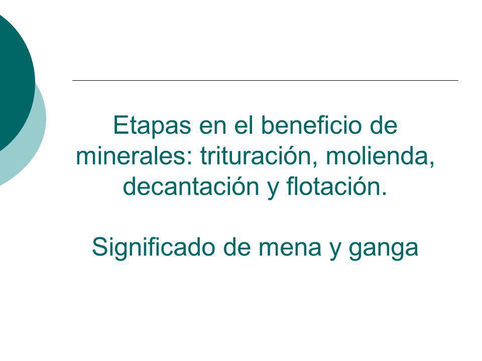 Etapas en el beneficio de minerales: trituración, molienda, decantación y flotación. Significado de mena y ganga