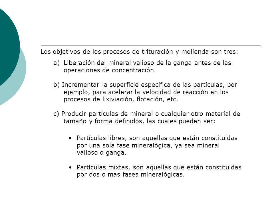 Los objetivos de los procesos de trituración y molienda son tres: a)Liberación del mineral valioso de la ganga antes de las operaciones de concentraci