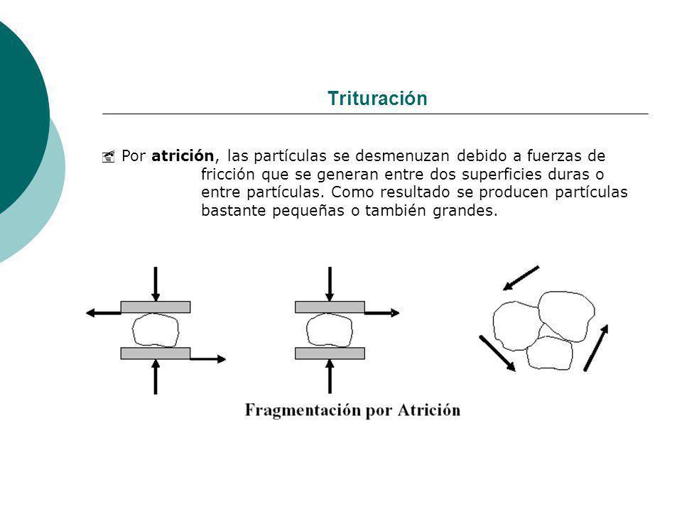 Trituración Por atrición, las partículas se desmenuzan debido a fuerzas de fricción que se generan entre dos superficies duras o entre partículas. Com