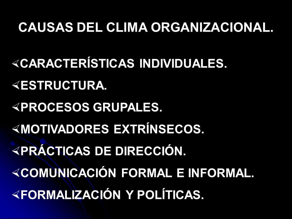 CAUSAS DEL CLIMA ORGANIZACIONAL.CARACTERÍSTICAS INDIVIDUALES.