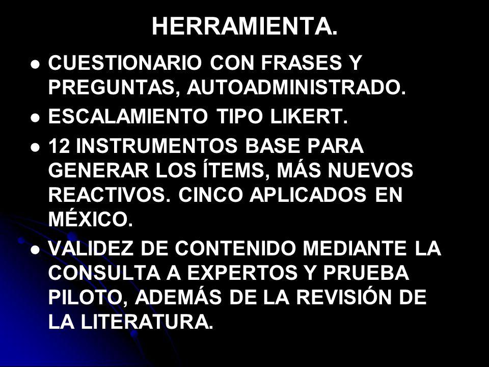 HERRAMIENTA.CUESTIONARIO CON FRASES Y PREGUNTAS, AUTOADMINISTRADO.