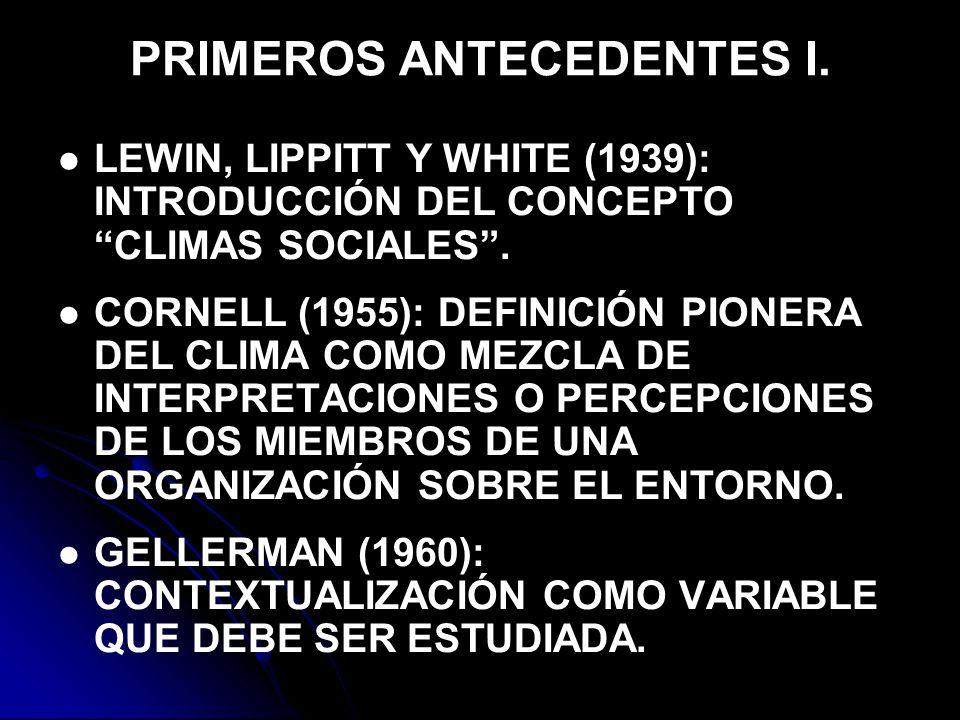 PRIMEROS ANTECEDENTES I.LEWIN, LIPPITT Y WHITE (1939): INTRODUCCIÓN DEL CONCEPTO CLIMAS SOCIALES.