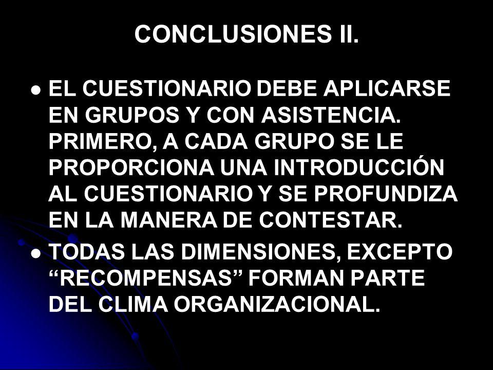 CONCLUSIONES II.EL CUESTIONARIO DEBE APLICARSE EN GRUPOS Y CON ASISTENCIA.