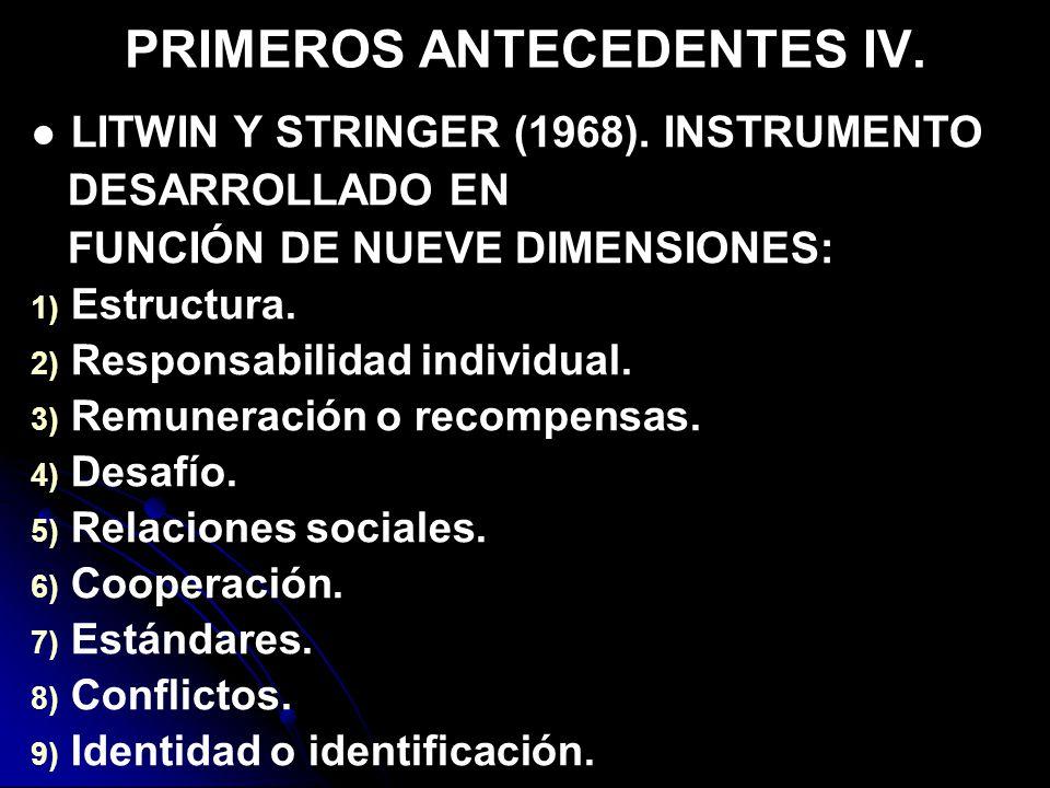 PRIMEROS ANTECEDENTES IV.LITWIN Y STRINGER (1968).