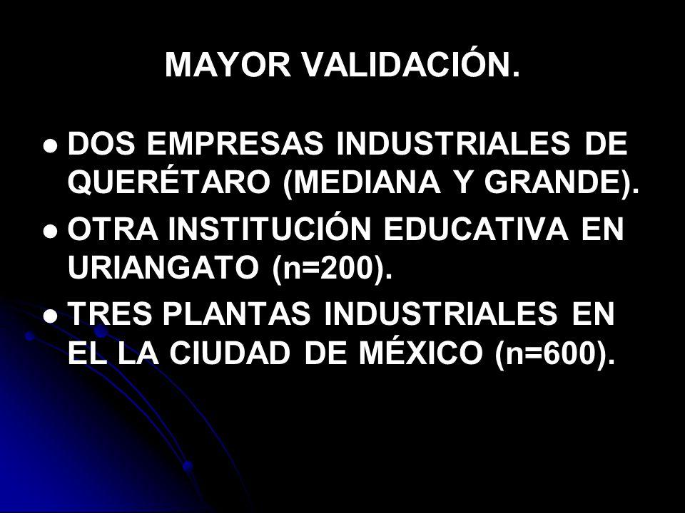 MAYOR VALIDACIÓN.DOS EMPRESAS INDUSTRIALES DE QUERÉTARO (MEDIANA Y GRANDE).