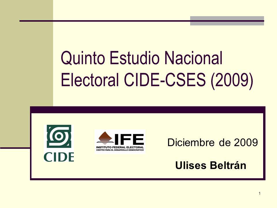 1 Quinto Estudio Nacional Electoral CIDE-CSES (2009) Diciembre de 2009 Ulises Beltrán