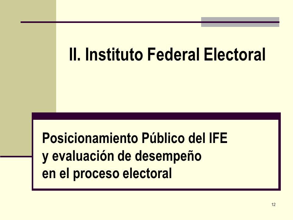 12 Posicionamiento Público del IFE y evaluación de desempeño en el proceso electoral II. Instituto Federal Electoral